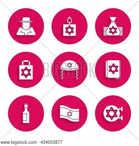 Set Jewish Kippah, Flag Of Israel, Synagogue, Torah Book, Wine Bottle, Shopping Bag With Star David,