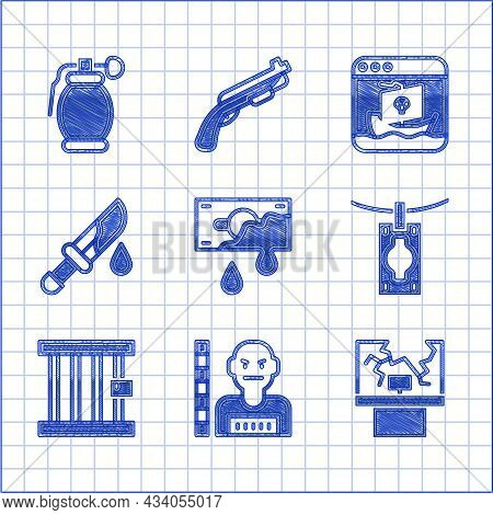 Set Bloody Money, Suspect Criminal, Broken Window, Money Laundering, Prison, Knife, Internet Piracy