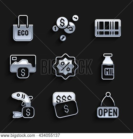 Set Discount Percent Tag, New Price Dollar, Hanging Sign With Open, Bottle Milk, Price For Fish, Cre
