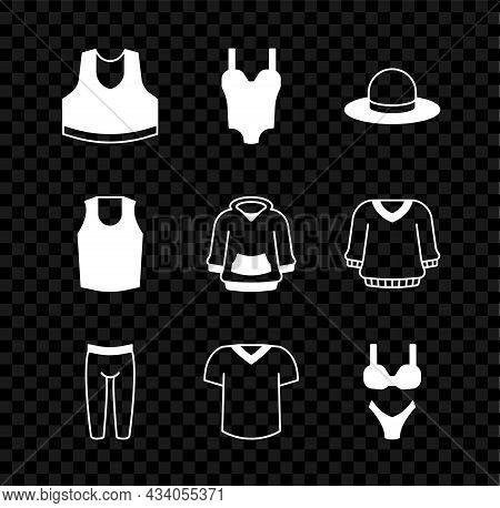 Set Undershirt, Swimsuit, Man Hat, Leggings, T-shirt, And Hoodie Icon. Vector