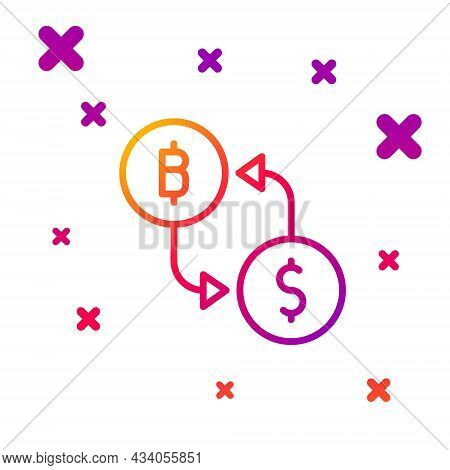 Color Line Cryptocurrency Exchange Icon Isolated On White Background. Bitcoin To Dollar Exchange Ico
