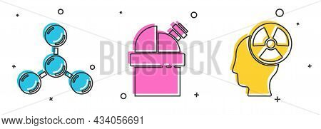 Set Molecule, Astronomical Observatory And Head And Radiation Symbol Icon. Vector