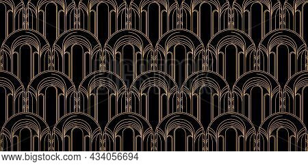 Pattern Of Cathedral Church Wall, Geometric Seamless Pattern With Rectangle Round Model. Design Gold