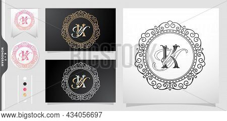 Set Of Vintage Labels And Badges, Set Of Label Initial Ky Or Yk Letter, Circle Gold Frame Border Wit