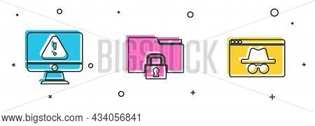 Set Monitor With Exclamation Mark, Folder And Lock And Browser Incognito Window Icon. Vector