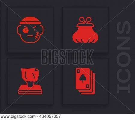 Set Playing Cards, Bandit, Wallet And Kidnaping Icon. Vector