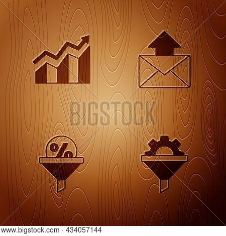 Set Sales Funnel With Gear, Financial Growth Increase, Lead Management And Mail And E-mail On Wooden