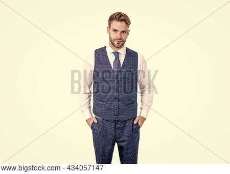 Meet Your Tailored Needs. Ambitious Man Isolated On White. Tailored Garment. Bespoke Tailoring