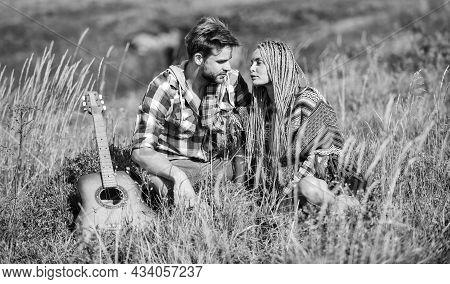 Love Inspires Them. Boyfriend And Girlfriend With Guitar. Romantic Walk. Romantic Song. Fresh Air An