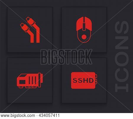 Set Sshd Card, Lan Cable Network Internet, Computer Mouse And Video Graphic Icon. Vector