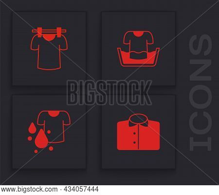 Set T-shirt, Drying Clothes, Basin With And Dirty T-shirt Icon. Vector
