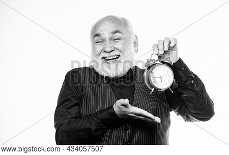 Senior Man White Beard. Senior Timekeeper. Counting Time. Time Does Not Spare Anyone. Time And Age C