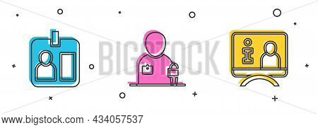 Set Journalist Id Card, News And Television Report Icon. Vector