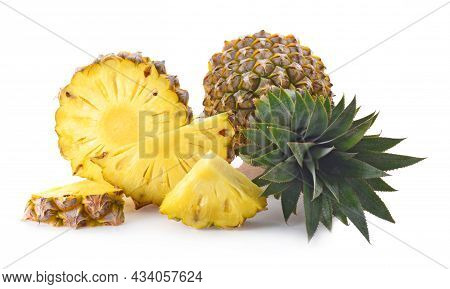 Whole Pineapple And Slice Pineapple Isolated On White Background