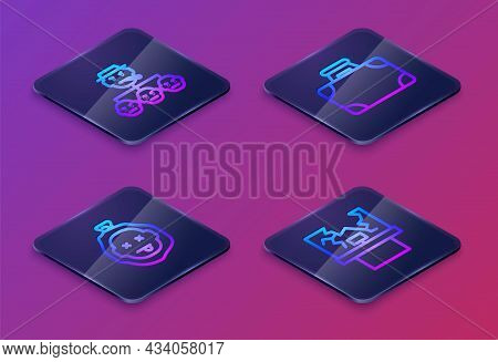 Set Isometric Line Mafia, Murder, Briefcase And Money And Broken Window. Blue Square Button. Vector