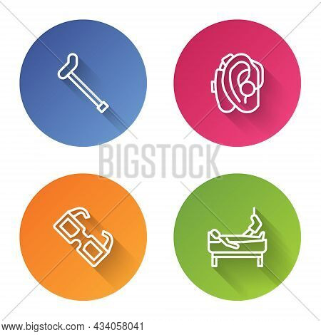 Set Line Walking Stick Cane, Hearing Aid, Eyeglasses And Patient With Broken Leg. Color Circle Butto