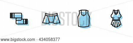 Set Line Undershirt, Winter Scarf, Men Underpants And Icon. Vector