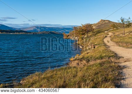 View Of Small Sea Strait On Lake Baikal On Autumn Day, Joy Bay
