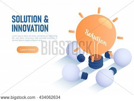 3d Isometric Web Banner Illuminated Light Bulb Among Laying Broken Bulb. Innovation And Solution Con
