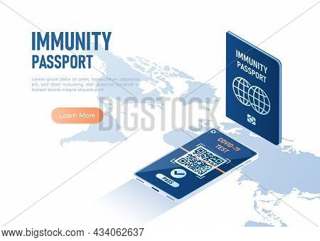 3d Isometric Web Banner Immunity Passport And Smartphone With Digital Vaccination Certificate For Co