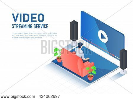 3d Isometric Web Banner Man Watching Online Video Streaming On Digital Tablet. Video Streaming Servi