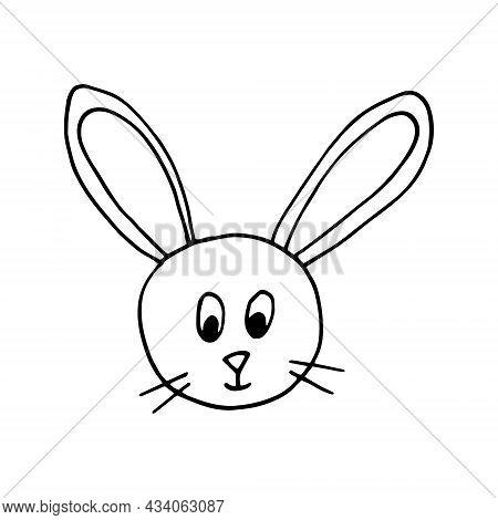 Hare Rabbit Face Hand Drawn Doodle. Vector, Scandinavian, Nordic, Monochrome, Minimalism. Animal Cut