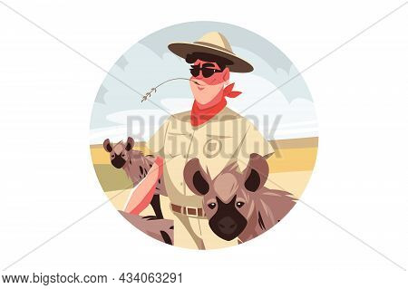 Happy Safari Visitor Man Vector Illustration. African Exotic Landscape With Wild Animals And Travele