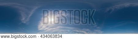 Blue Sky Panorama With Cirrus Clouds. Seamless Hdr 360 Degree Pano In Spherical Equirectangular Form