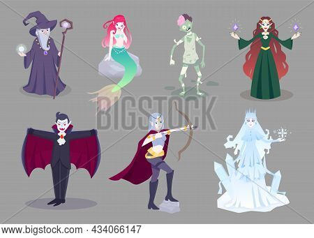 Set Of Cartoon Fantasy Characters. Wizard, Mermaid, Zombie, Witch, Vampire, Archer, Ice Queen. Isola