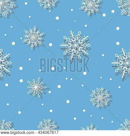 Beautiful Set White Snowflakes On A Blue Background For Winter Design. Collection Of Christmas New Y