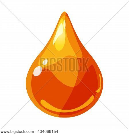 Drop Orange Shiny Glossy Colorful Game Asset. Aqua, Jelly, Crystal, Glass Drip, Bubble Shot Elements