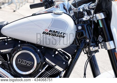 Bordeaux , Aquitaine  France - 09 20 2021 : Harley-davidson Logo Brand On Tank Fuel White With Text