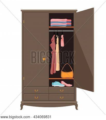 Open Wardrobe. Wardrobe With Neat Clothes, Shirts, Sweaters, Dresses And Shoes. Home Interior. Flat