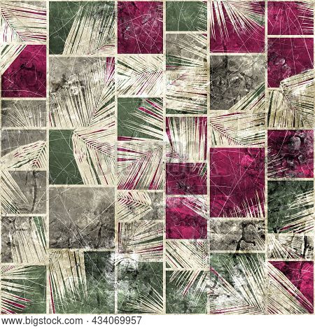 Seamless Faded Grungy Mosaic Of Palm Leaves In Rectangles