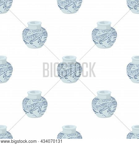 Chinese Vase Pattern Seamless Background Texture Repeat Wallpaper Geometric Vector