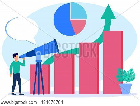 Vector Illustration Of Business Opportunity Concept And Catch Target. Seek Future Plans For Success