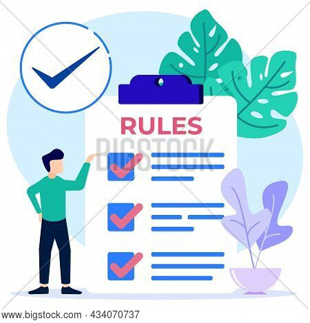 Vector Illustration Of Flat Style Rule Checklist Rule Concept. Community Control Guidelines And Stra