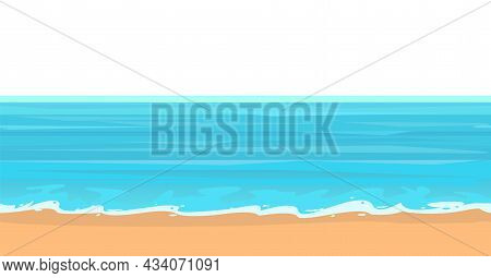 Frontal View Of The Seashore. Waves Along The Surf Line. Yellow Sandy Beach. Distant Horizon. The Is