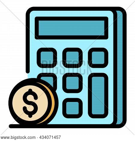 Calculation Of Money Icon. Outline Calculation Of Money Vector Icon Color Flat Isolated