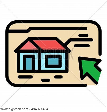 Online Selection Home Icon. Outline Online Selection Home Vector Icon Color Flat Isolated