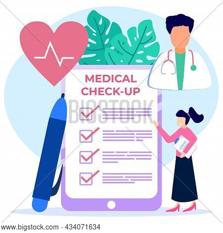 Vector Illustration Of A Medical Examination As A Health Concept. Doctor's Examination Of Patients A