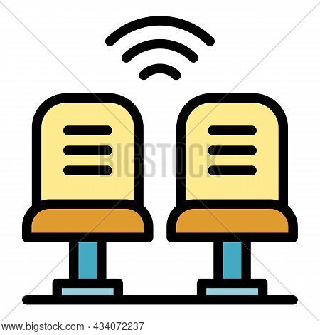 Wifi At Airport Icon. Outline Wifi At Airport Vector Icon Color Flat Isolated
