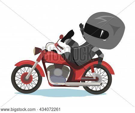 Biker Cartoon. Child Illustration. Lost My Balance. Sports Uniform And Helmet. Cool Motorcycle. Chop