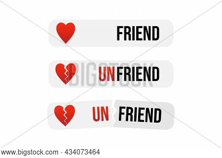 Vector Cartoon Style Friend And Unfriend Conceptual Stickers, Labels, Banners For Social Media, Text