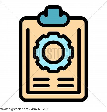 Wheel Work Clipboard Icon. Outline Wheel Work Clipboard Vector Icon Color Flat Isolated
