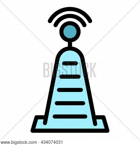 Tv Radio Tower Icon. Outline Tv Radio Tower Vector Icon Color Flat Isolated