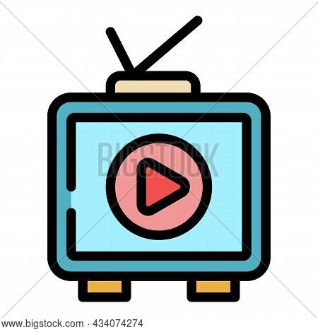 Interactive Tv Set Icon. Outline Interactive Tv Set Vector Icon Color Flat Isolated