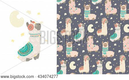 Set Of Card And Cute Childish Pattern With Constellations Of Lamas. Animalistic Gentle Poster And Te
