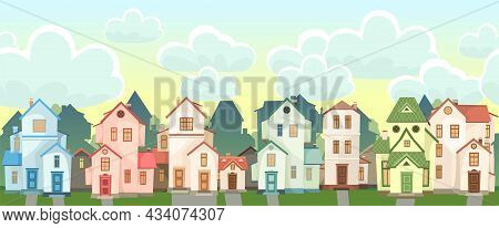 Street. Cartoon Houses With Sky. Village Or Town. Seamless. A Beautiful, Cozy Country House In A Tra