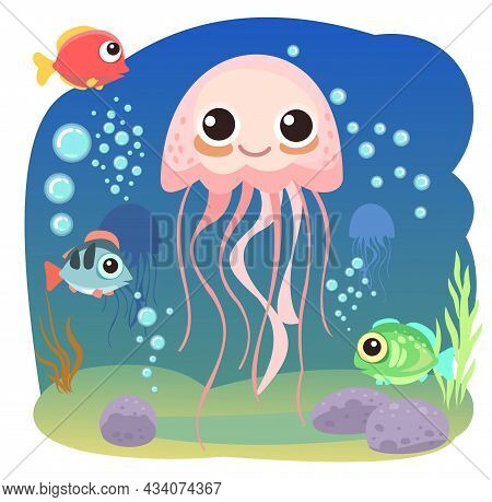 Jellyfish, Little Landscape. Underwater Life. Wild Animals. Ocean, Sea. Summer Water. Isolated On Wh